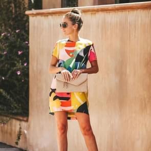 Ronde hals contrast print jurk (kleur: zoals afgebeeld grootte:M)