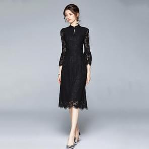 Vroege herfst temperament Kant Lotus Blad mouw jurk (kleur: zwart formaat: S)