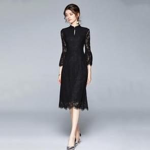Vroege herfst temperament Kant Lotus Blad mouw jurk (kleur: zwart formaat: M)