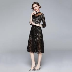 Temperament Stiksels net garen ketting link kant jurk (kleur: zwart formaat: l)