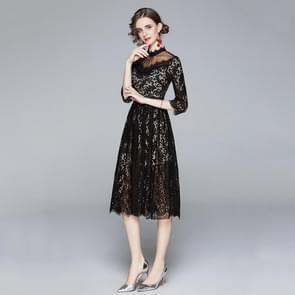 Temperament Stiksels net garen ketting link kant jurk (kleur: zwart formaat: XXL)