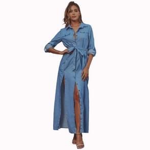 Hoge taille spleet lange denim jurk (kleur: blauwe maat: XS)