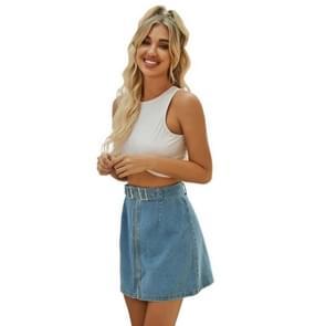 Korte denim rok met hoge taille en veelzijdige riem ontwerp (kleur: blauwe maat: XS)