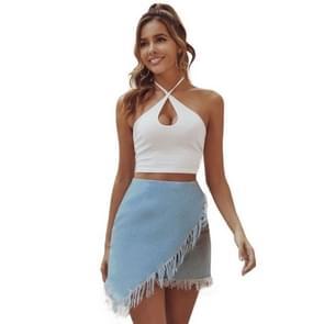 Retro Fashion High Waist Fringed Denim onregelmatige rok (kleur: blauwe maat: L)