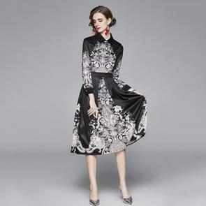 Fashion Lapel All-match Print Waist Dress (Kleur: Black Size:M)