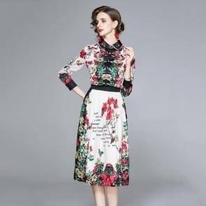 Lapel All-match Fashion Print Dress (Color:Decor Size:M)