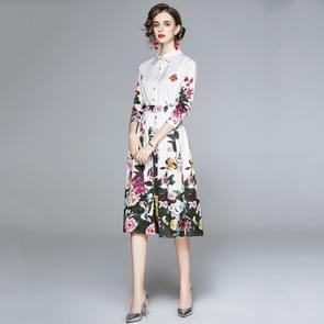 Fashion All-match Elegante Lapel Print Dress (Color:Decor Size:XXL)