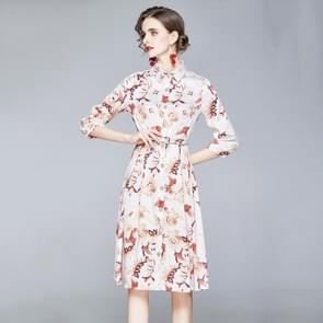 Fashion Lapel gedrukt lange taille jurk (Kleur: Decor Grootte: XXL)