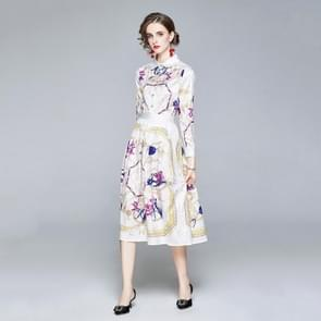 Fashion Waist Revers Print Long Sleeve Dress (Color:Decor Size:XL)