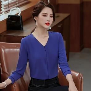 Fashion Casual Suit Bottoming V-hals Shirt (Kleur: Purple Size:XL)