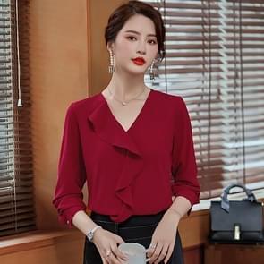 Fashion Casual Suit Bottoming V-hals Shirt (Kleur: Rood Formaat: L)
