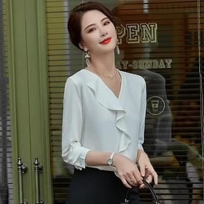 Fashion Casual Suit Bottoming V-hals Shirt (Kleur: Witte Maat:XL)
