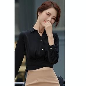 Fashion Casual Suit Bottom Stand Collar Shirt (Kleur: Zwart Formaat: L)