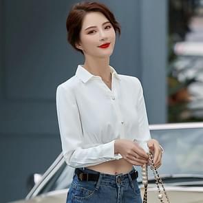 Fashion Casual Suit Bottom Stand Collar Shirt (Kleur: Wit formaat: XXXXL)
