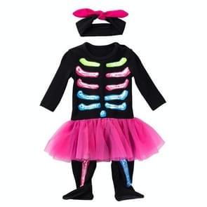 Halloween Lange mouwen Skull Kostuum Kinderkleding Baby Baby Kleding Een-stuk Groepskostuum (Kleur: Zwarte Maat: 66)
