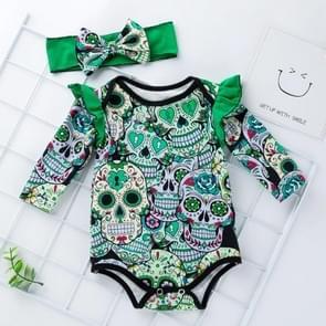 Halloween Long-sleeved Skull Print Childrens Kleding Baby Baby Kleding One-piece Kleding (Kleur: Groene maat: 80)