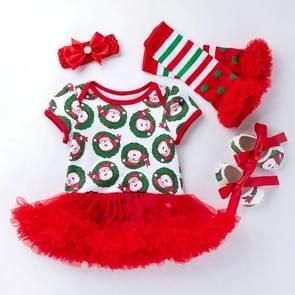 Vierdelige Baby Kort-mouwen Kerst Cartoon Print Jurk (Kleur: Rood Formaat:59)