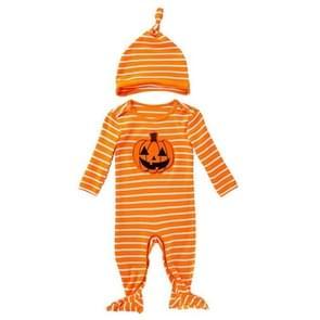 Halloween Baby Long-sleeved Gestreepte Pompoen Print Een stuk Pak (Kleur: Gele maat: 80)