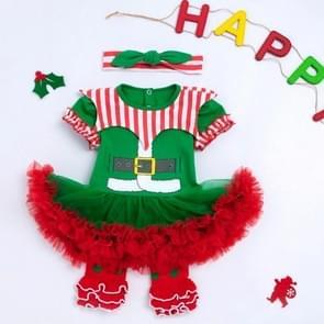 Christmas Baby Kort-mouwen Drie-delige Baby Romper Tutu Rok (Kleur: Groene maat:73)