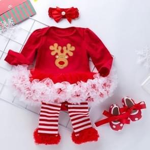 Baby kerstkleding lange mouw Cartoon Romper Net Garen Tutu Vierdelige Childrens Wear (Kleur: Kerstmis Elk Size:59)