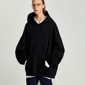 Casual Fashion Lantern Mouwen Loose Plus Size Sweatshirt (Kleur: Zwart Formaat: S)