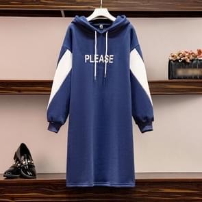 Contrasterende Hooded Mid-length Sweater Dress (Kleur: Royal Blue Size: XXXXL)