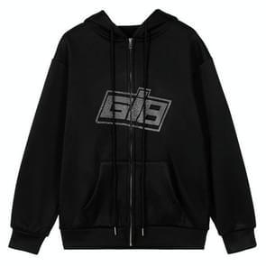 Letter Hot Drilling Lange mouwen Zipper Cardigan Plus Fleece Sweater (Kleur: Zwart formaat: L)
