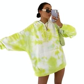 Bedrukte ronde hals met lange mouwen Fashion Loose Plus Size Hooded Sweater (Kleur: Geel Groen Maat:S)