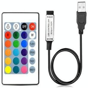YWXLight LED Strip USB Controller met 24 toetsen IR afstandsbediening voor 5050 RGB LED Strip