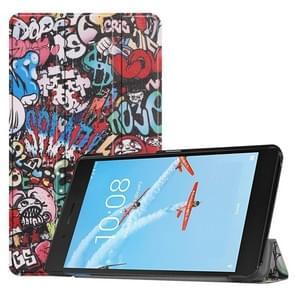 Horizontale Flip Graffiti patroon gekleurde geschilderde PU lederen draagtas voor Lenovo E7 / TB-7104F  met drie-vouwen houder
