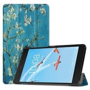 Horizontale Flip abrikoos bloemenpatroon gekleurde geschilderde PU lederen draagtas voor Lenovo E7 / TB-7104F  met drie-vouwen houder