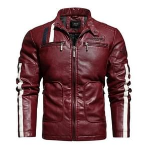 Herfst en winter letters borduurpatroon nauwsluitende motorfiets lederen jas voor mannen (kleur: rode maat: XXL)