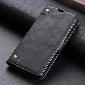 Copper Buckle  Side-corner Fixed Retro Texture Horizontal Flip Leather Case For Huawei P30, With Holder & Three Cards (Black)