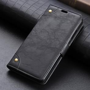 Copper Buckle Side-corner Fixed Retro Texture Horizontal Flip Leather Case For Galaxy S10 Plus, With Holder & Three Cards (Black)