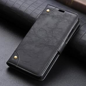 Copper Buckle Side-corner Fixed Retro Texture Horizontal Flip Leather Case For Galaxy S10, With Holder & Three Cards (Black)
