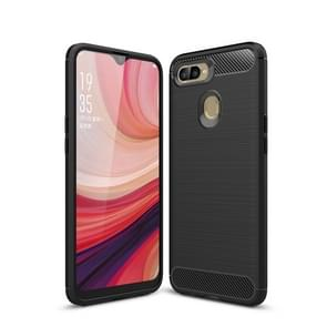 Carbon Fiber Texture TPU Shockproof Case For OPPO A7 (Black)
