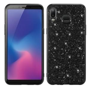 Glitter Powder Shockproof TPU Protective Case For Galaxy A6s (Black)