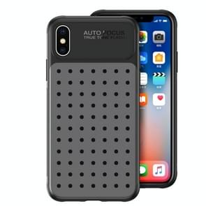 Mesh Breathable PC + TPU Shockproof Protective Case For iPhone XS Max, With Holder (Gray)