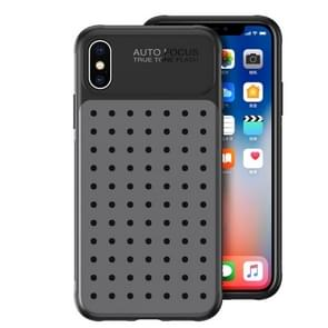 Mesh Breathable PC + TPU Shockproof Protective Case For iPhone XR, With Holder (Gray)