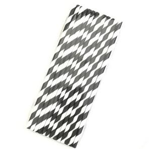 50 PCS Degradable Color Environmental Protection Striped Paper Straw Disposable Kraft Paper Straw