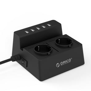 ORICO ODC-2A5U-V1-EU-BK Smart Charging Desktop Surge Protector Power Socket, with 2 AC Outlets & 5 USB Ports, EU Plug