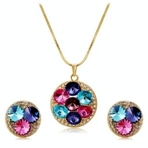 Fashionable Crystal Inlaid Pendant Necklace and Earring Set for Female, Chain Length: 43cm