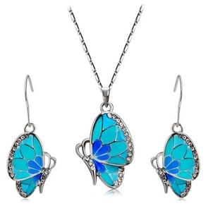 Blue Butterfly Inlaid Alloy Necklace Earring Set for Female, Chain Length: 42cm