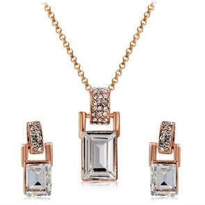 Barrel Shaped Crystal Inlaid Pendant Necklace and Earring Set for Female, Chain Length: 43cm
