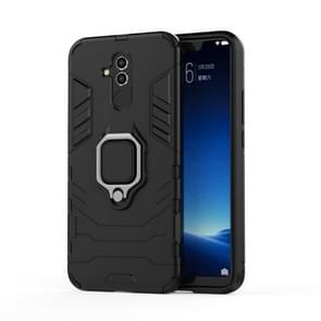 Shockproof PC + TPU Protective Case for Huawei Mate 20 Lite, with Magnetic Ring Holder (Black)
