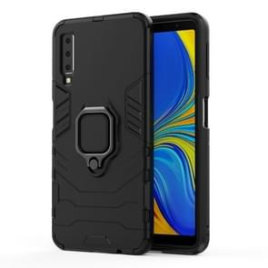 PC + TPU Shockproof Protective Case for Galaxy A7(2018), with Magnetic Ring Holder (Black)