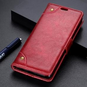 Copper Buckle Nappa Texture Horizontal Flip Leather Case for Huawei P30 Lite, with Holder & Card Slots & Wallet (Wine Red)