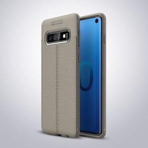 Litchi Texture TPU Shockproof Case for Galaxy S10 (Gray)