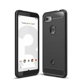 Brushed Texture Carbon Fiber Shockproof TPU Case for Google Pixel 3 Lite (Black)