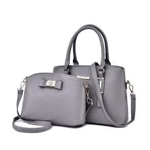 2-in-1 PU leder Litchi textuur vrouwen handtas Single-schoudertas Messenger Bag (grijs)